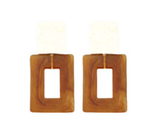 Hammered & Acrylic Rectangle Earrings, Brown