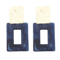 Hammered & Acrylic Rectangle Earrings, Blue