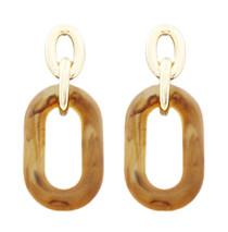 Acrylic Oval Dangle Earrings, Brown
