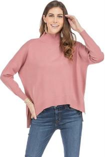 Jade Mock Neck Sweater, Rose