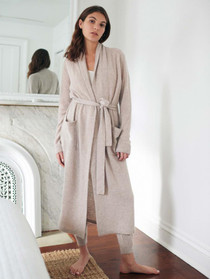 White + Warren Cashmere Long Robe, Heather Oak