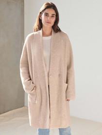White + Warren Plush Melange Luxe Coat, Heather Oak
