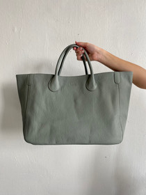 Beck Medium Classic Leather Beck Bag, Carlyle Gray Blue
