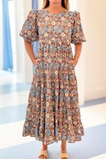 Grace Holiday Megan Dress, Umber Botanicals