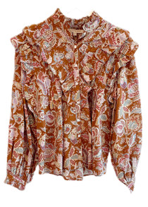 Love the Label Button Front Ruffle Sleeve Top, Petit Ami Rust