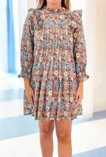 Grace Holiday Molly Dress, Umber Botanicals