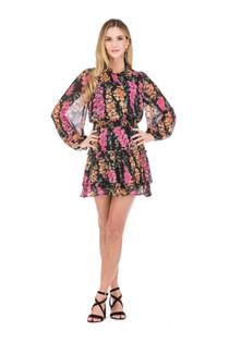 Joy Joy Cinch Neck Tier Mini Dress, Black Bouquet