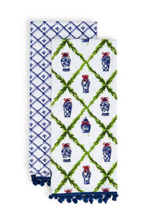 Two's Company Blue and White Holiday Dish Towel Set, Chinoserie Christmas