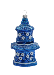 Two's Company Blue and White Hand-Crafted Ornament, Pagoda Blue