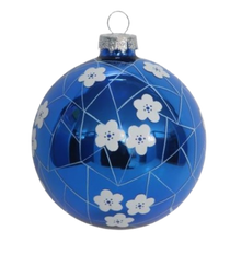 Two's Company Blue and White Hand-Crafted Ornament, Ball Blue