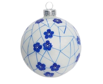 Two's Company Blue and White Hand-Crafted Ornament, Ball White