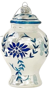Two's Company Blue and White Hand-Crafted Ornament, Ginger Jar White