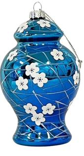 Two's Company Blue and White Hand-Crafted Ornament, Ginger Jar Blue