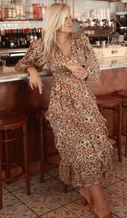 Anna Cate Louise Midi, Tan Red Floral
