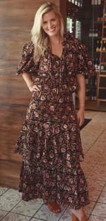 Anna Cate Amelia Midi Skirt, Black Red Floral