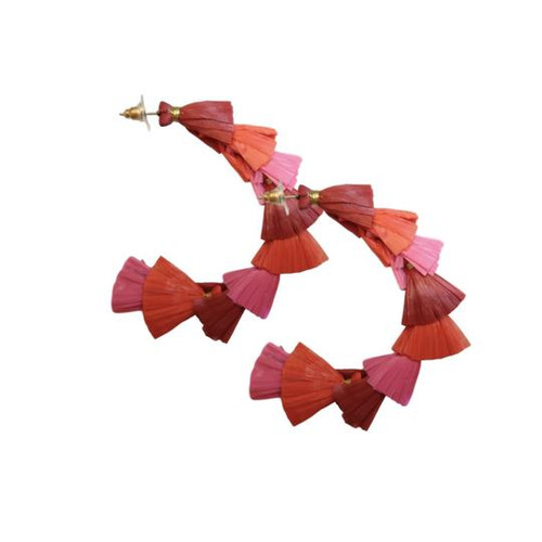 St. Armands Pink/Red Montego Raffia Hoops