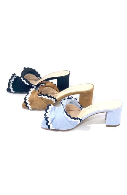 Brenda Zaro Polar Ruffle Sandal, Blue Fog