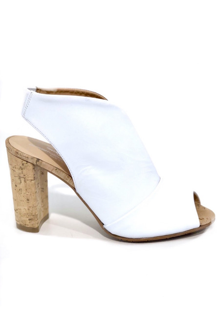Brenda Zaro Peep Toe Heel, White Leather
