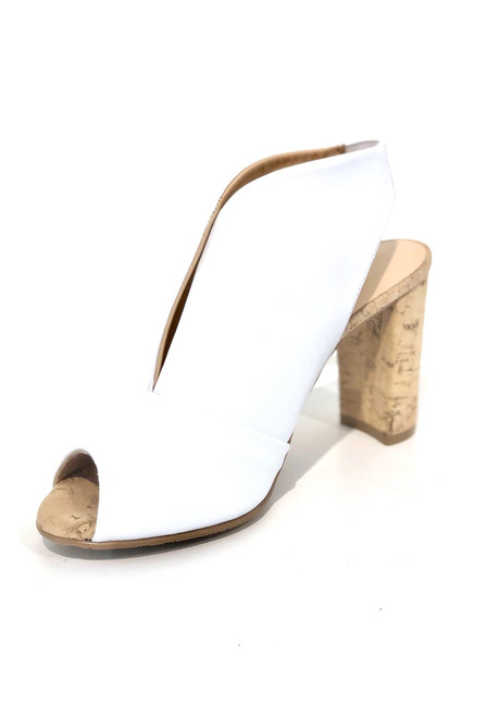 Brenda Zaro Peep Toe Heel, White Leather