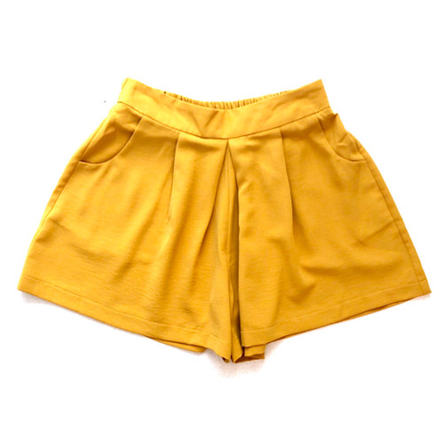 Joy Joy Pleated Pull-On Short, Mustard