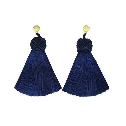 Hart Top Knot Earrings - Navy