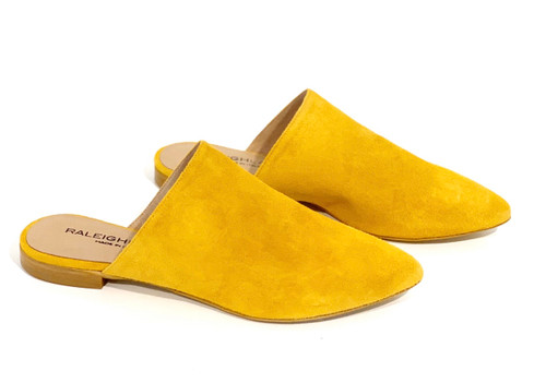 Raleigh Label Mustard Suede Slide