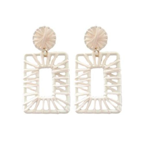 Calypso Raffia Rectangle Earrings