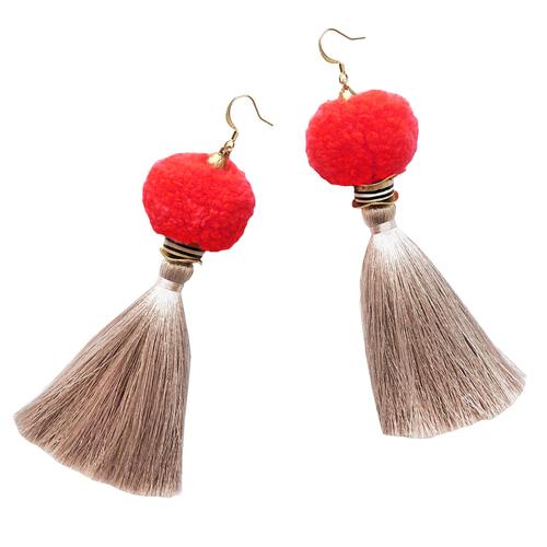 Gaia Neon Coral Pom Pom Tassel Earrings
