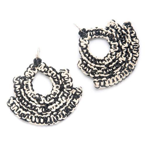 Caralarga Guerrera Earrings, Black & Ivory