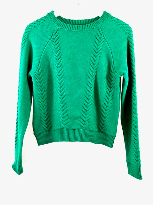English Factory Cable Knit Sweater, Green