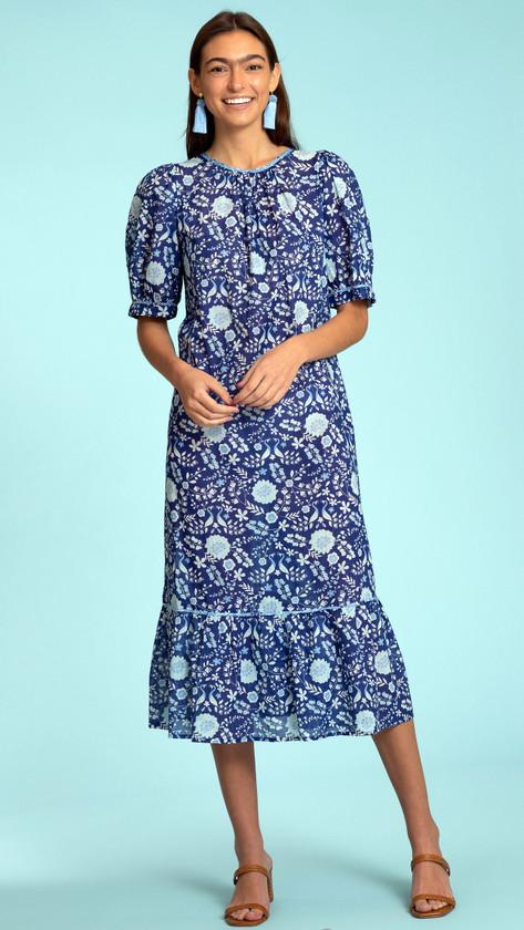 Olivia James Molly Dress, Peacock Floral Indigo
