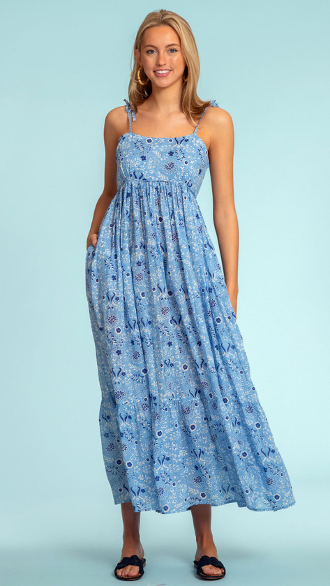 Olivia James Malin Dress, Peacock Floral French Blue