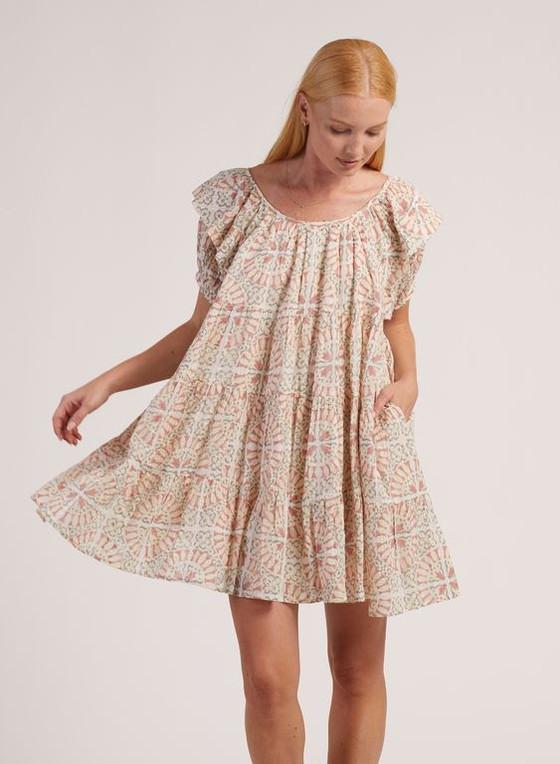 Cleobella Ferris Mini Dress, Tile Print