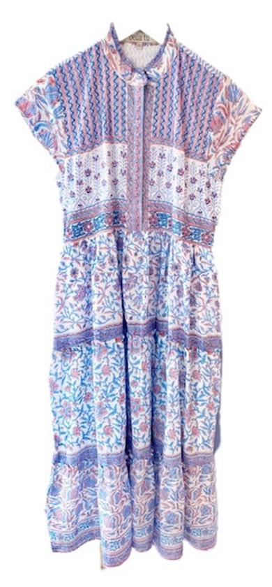 Bella Tu Fiona Cap Sleeve Dress, Pink Iris