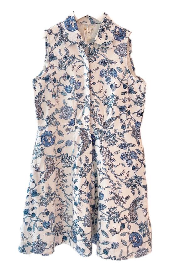 Livro Mini Sleeveless Shirtdress, Blue Bouquet