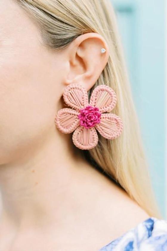 Victoria Dunn Periwinkle Flower Earrings, Pink