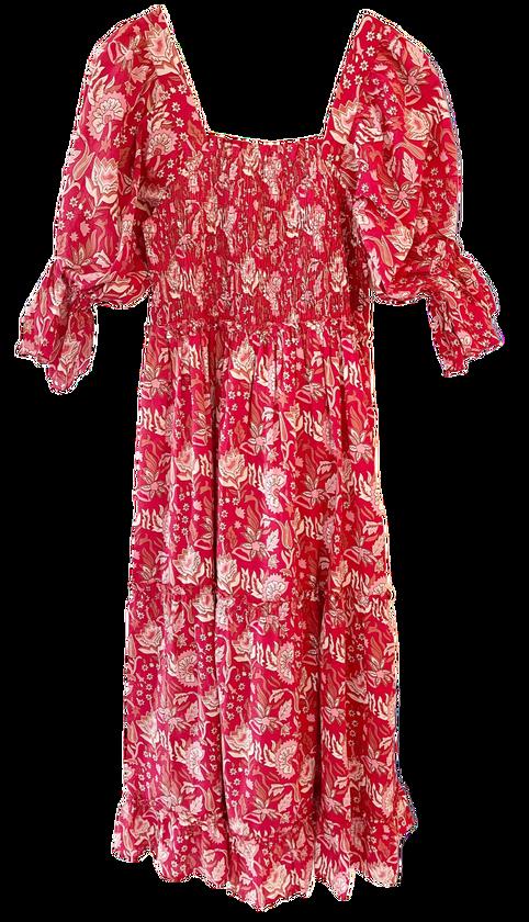 Grace Holiday Frances Dress, Cranberry Chintz