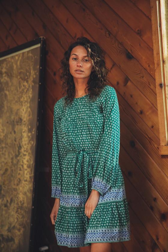 Trovata Abigail Short Dress, Emerald Heirloom