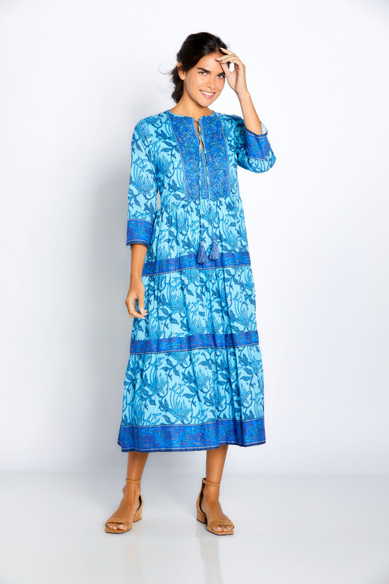 """Bella Tu Batik Flower 48"""" Tier Dress, Blue"""
