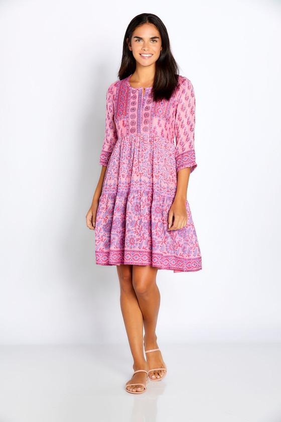 "Bella Tu Cora 37"" 3/4 Sleeve Dress, Peony"