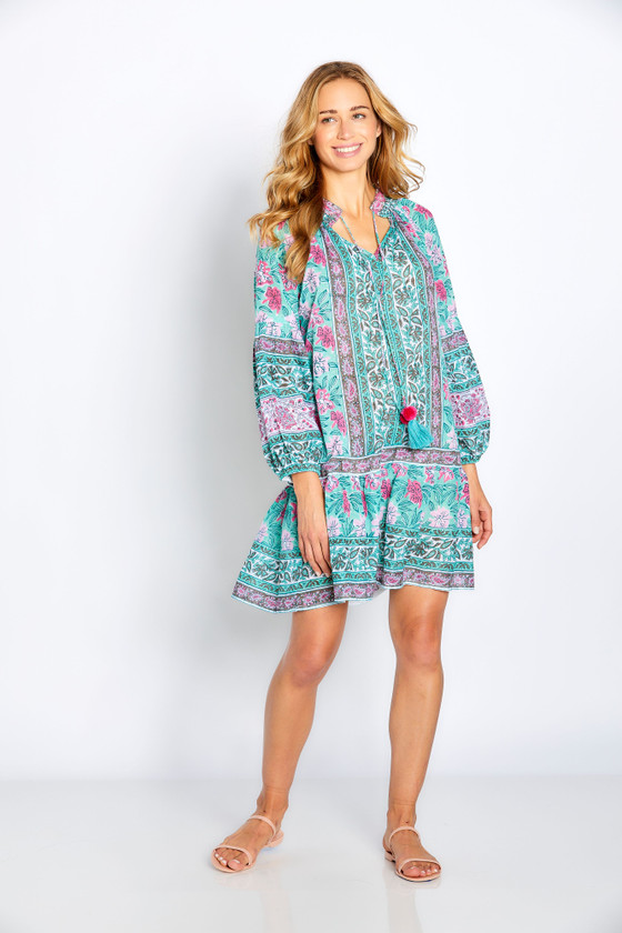 "Bella Tu Phoebe 35"" Peasant Dress, Mint"