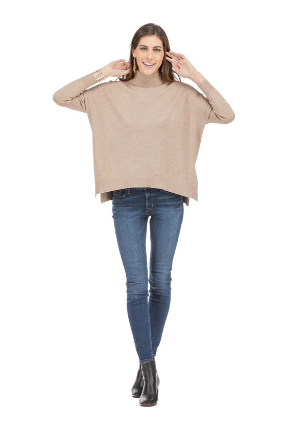 Jade Mock Neck Sweater, Toast