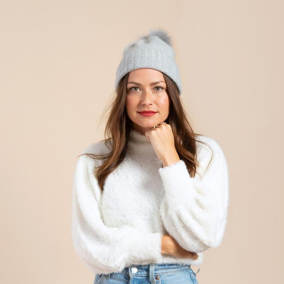 Hat Attack Cashmere Cuff Slouchy Beanie with Real Pom, Light Grey
