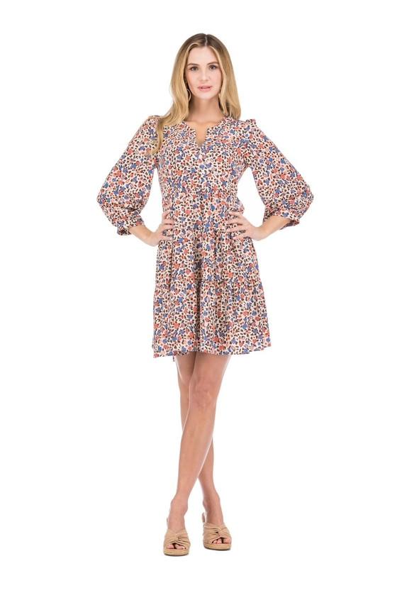 Joy Joy Spliced Neck Tiered Dress, Floral Cheetah