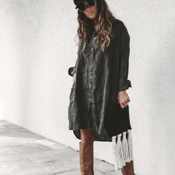 LJC Designs Harper Shirt Dress, Khaki