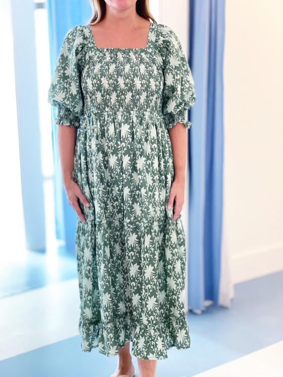 Grace Holiday Frances Dress, Spruce Chintz
