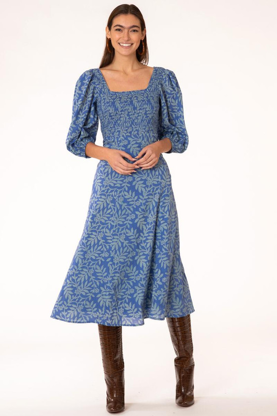 Olivia James Bridget Midi Dress, True Blue Stems