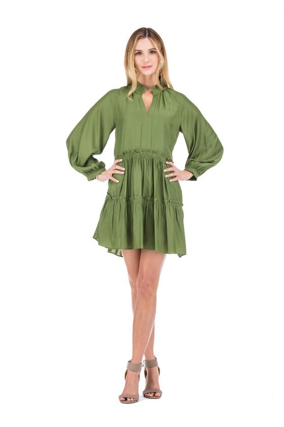 Joy Joy Gathers Waist Tiered Dress, Olive