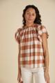 Trovata Carla Highneck Shirt, Whiskey Check