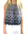 English Factory Embroidered Striped Top